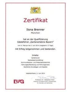 Tour Manager certificate, Certificate NHTV, Garden Guide Bavaria